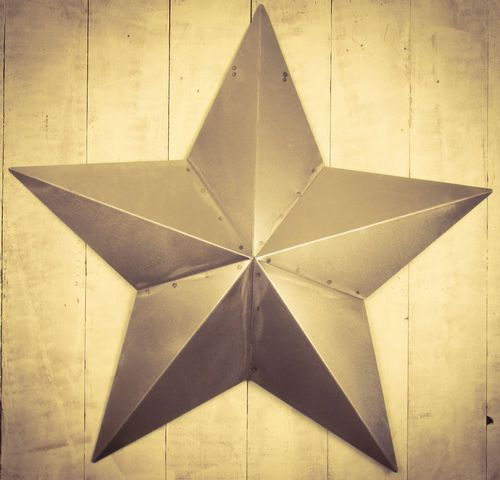 "Huge Metal 33"" Brushed Metal Amish Barn Star"